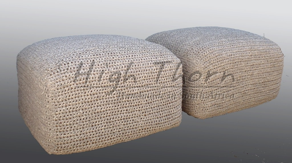 Crochet Ottoman : Name: CROCHETED LEATHER OTTOMAN SQUARE 65CM